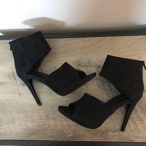 DIBA Black VELVET Peep Toe SPIKE Heel CUFF Pumps 7